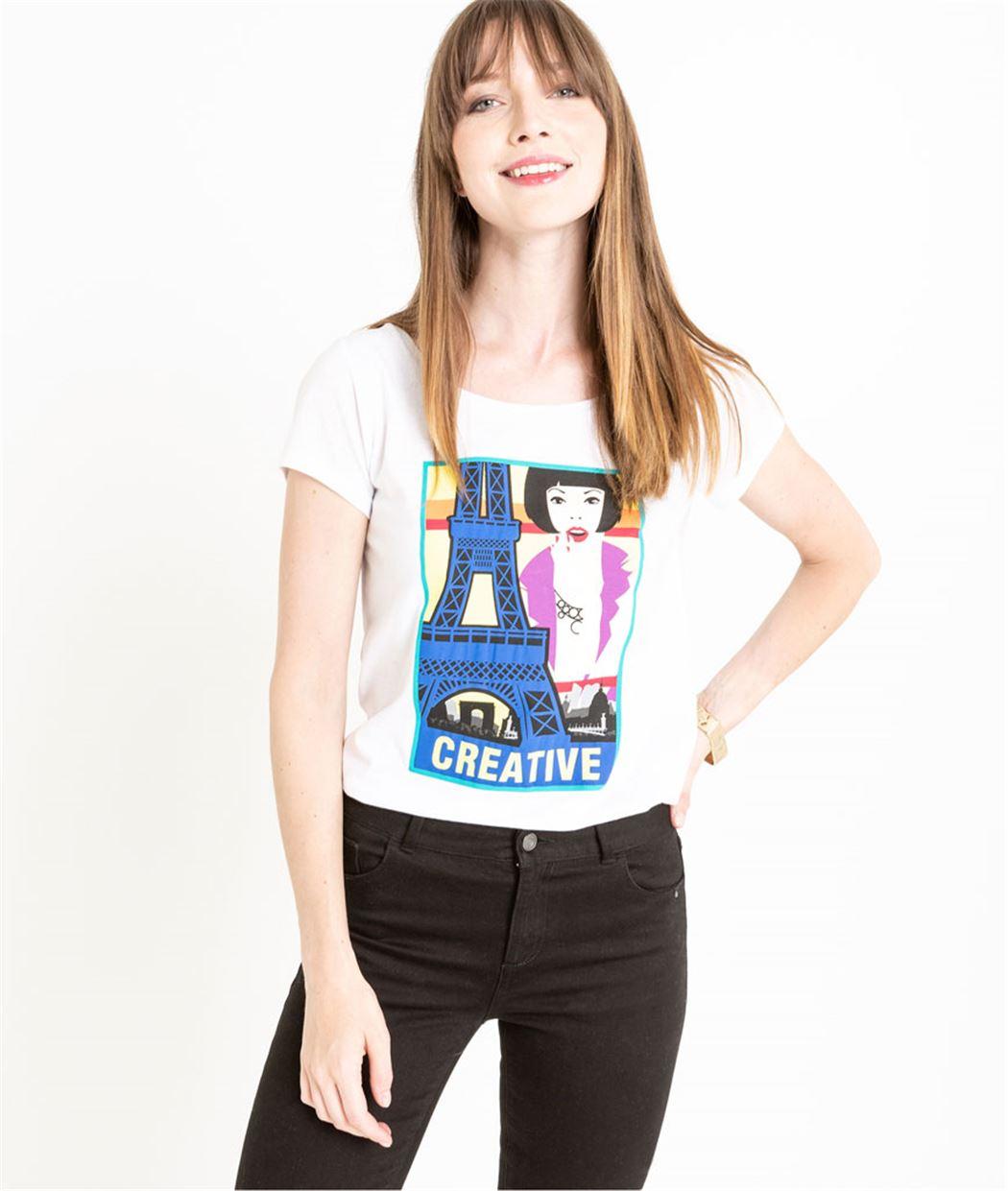 T-shirt femme blanc imprimé BLANC