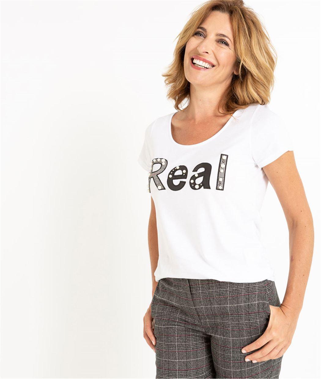 T-shirt femme blanc avec message BLANC CASSE