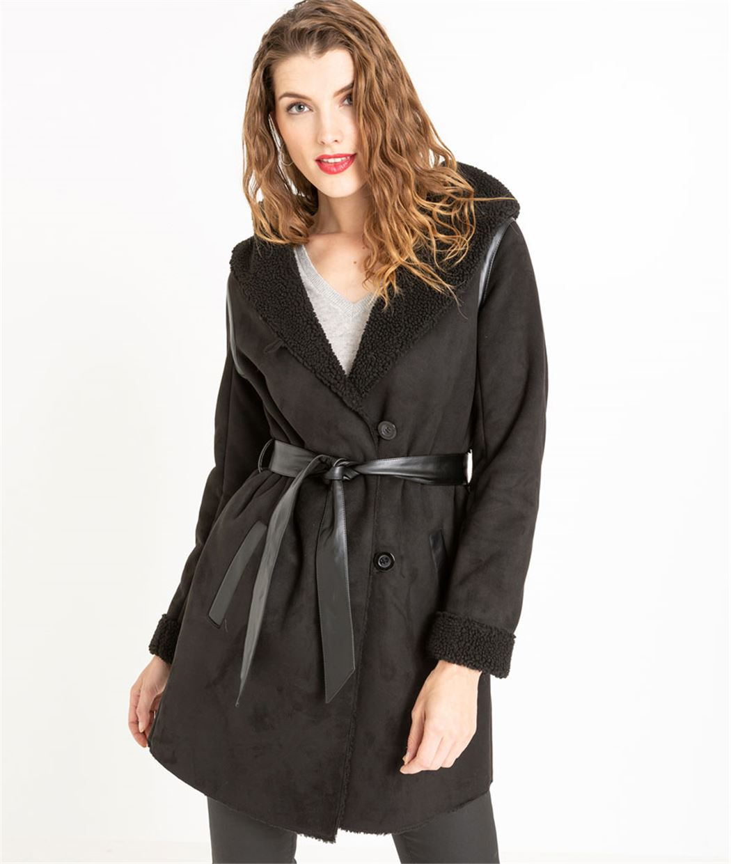 manteau femme effet peau lain e noir grain de malice. Black Bedroom Furniture Sets. Home Design Ideas