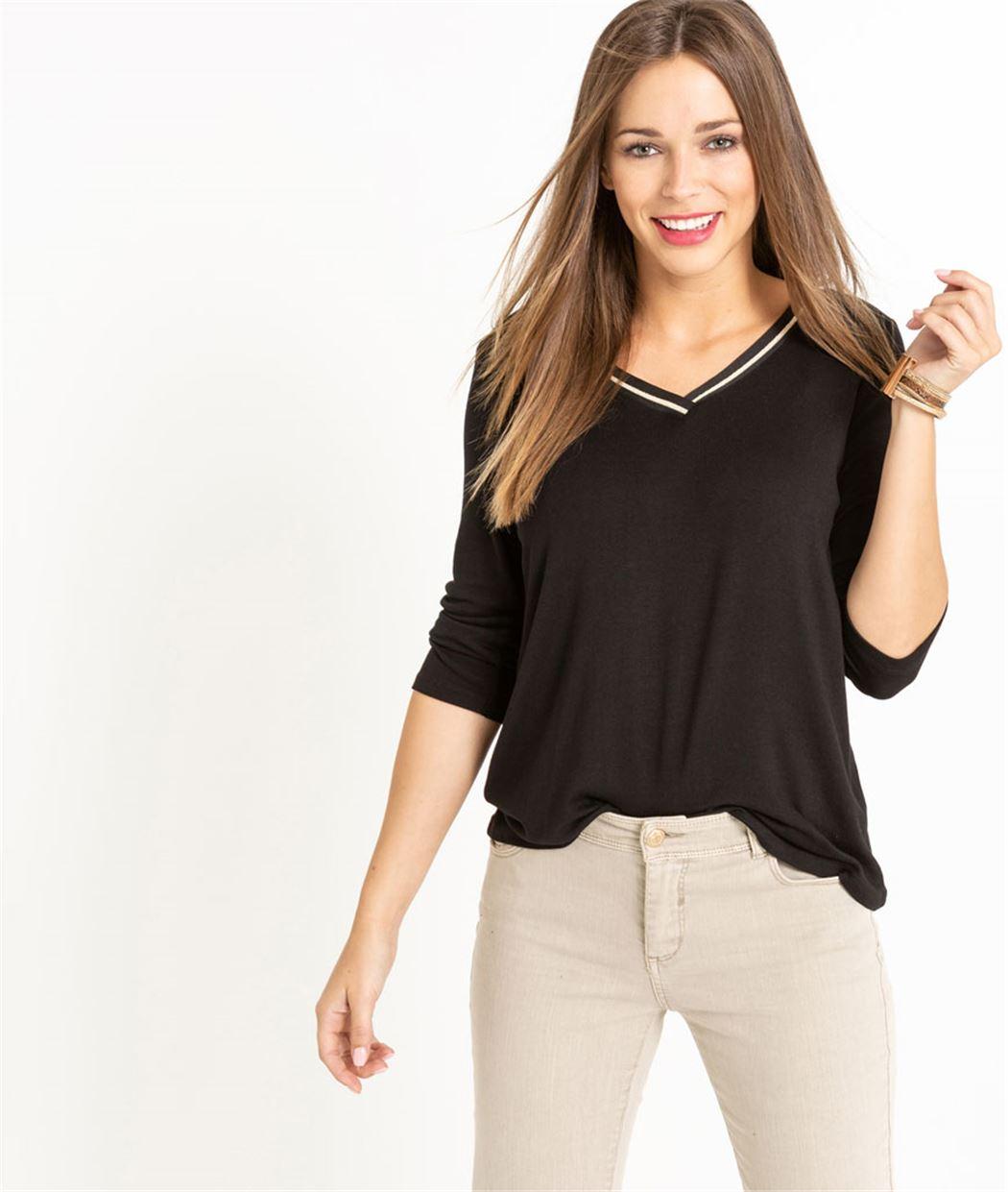 T-shirt femme manche 3/4 uni NOIR