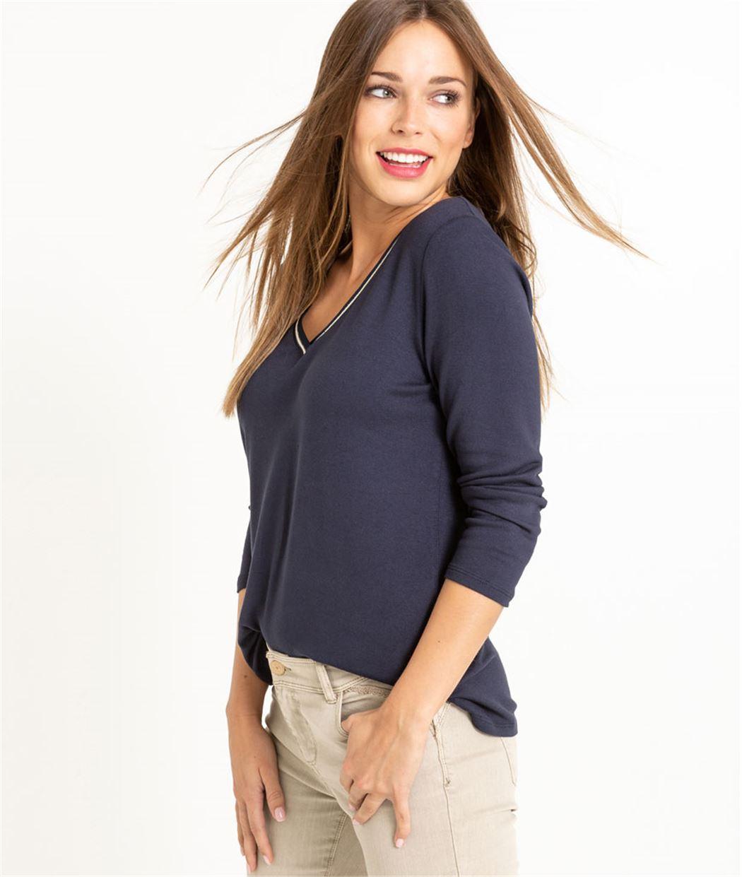 T-shirt femme manche 3/4 uni MARINE