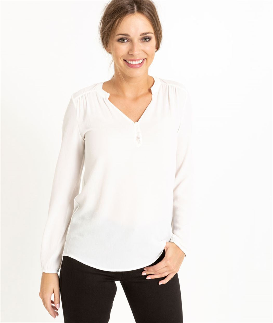 T-shirt femme manches longues ECRU