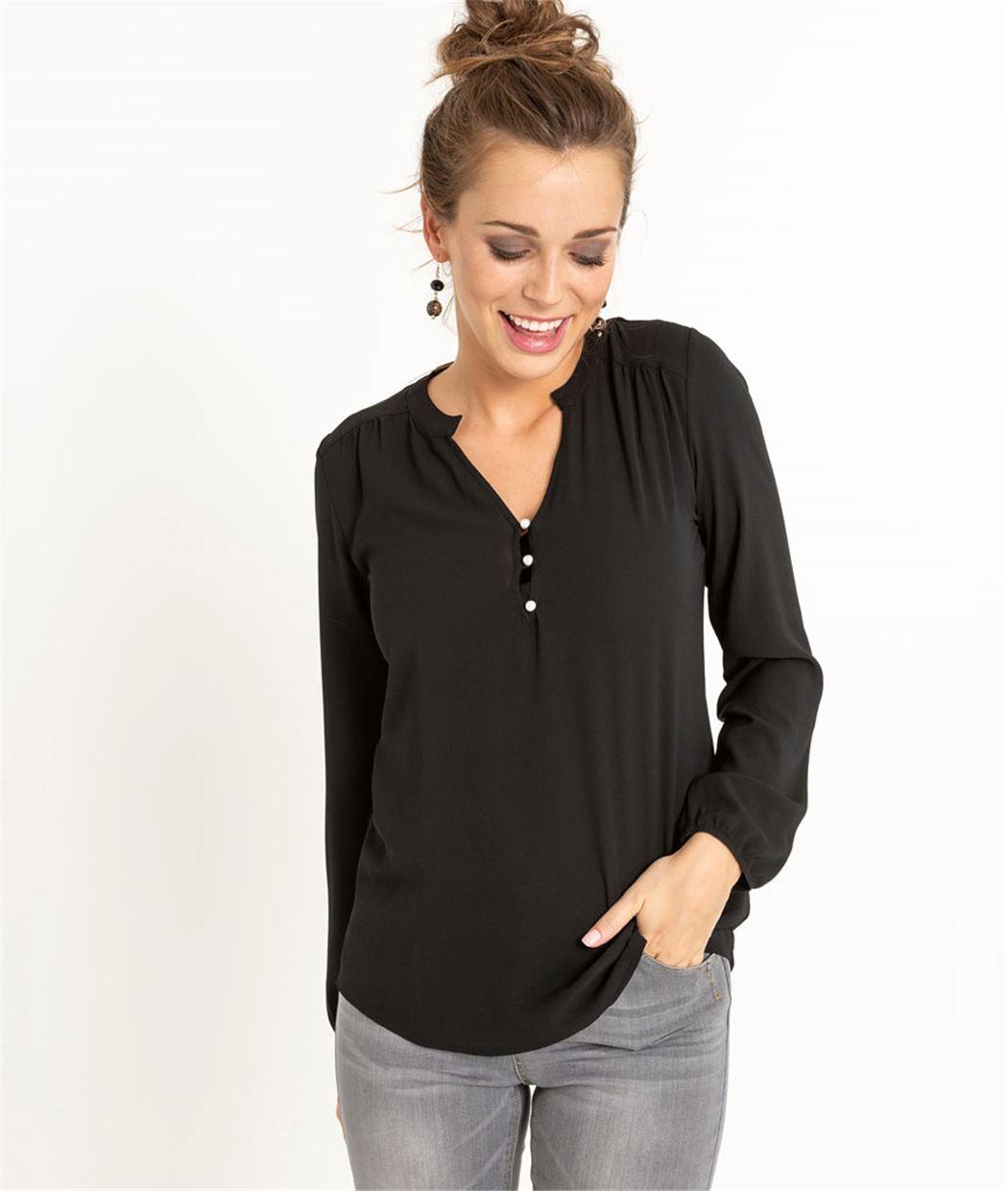 T-shirt femme manches longues NOIR