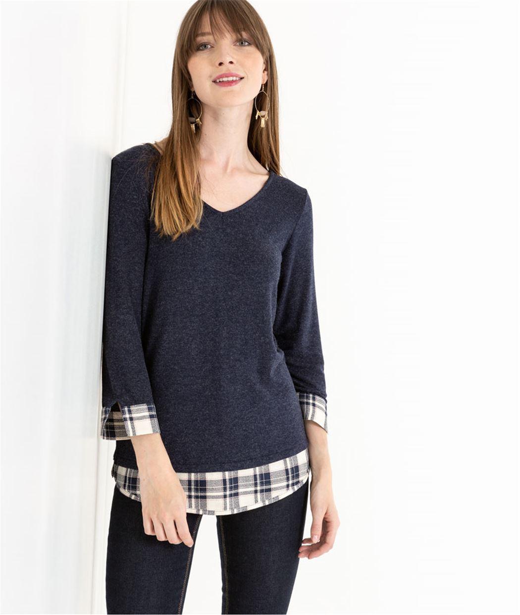 T-shirt femme 2 en 1 avec noeud BLEU