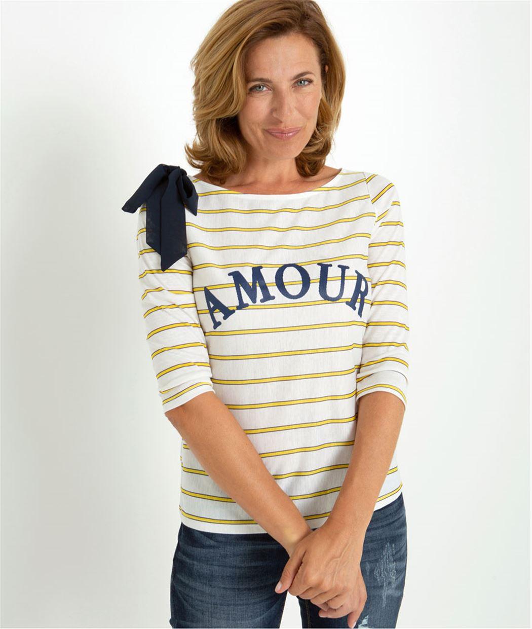 T-shirt femme rayé à message BLANC