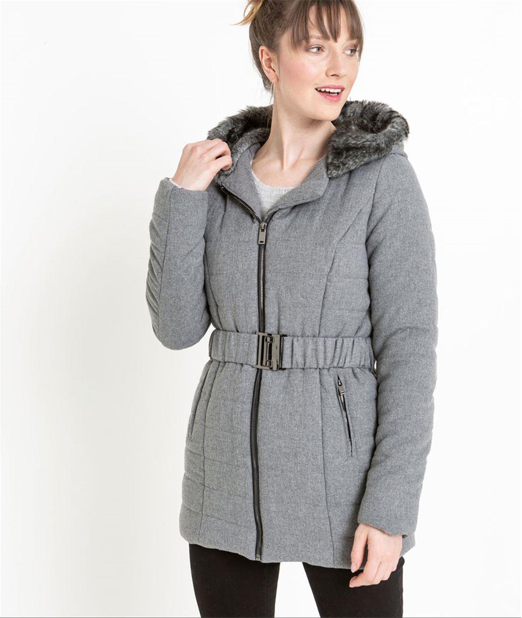 Doudoune femme grise avec ceinture GRIS