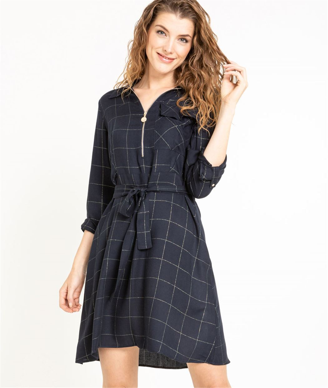 Robe chemise femme à carreaux MARINE