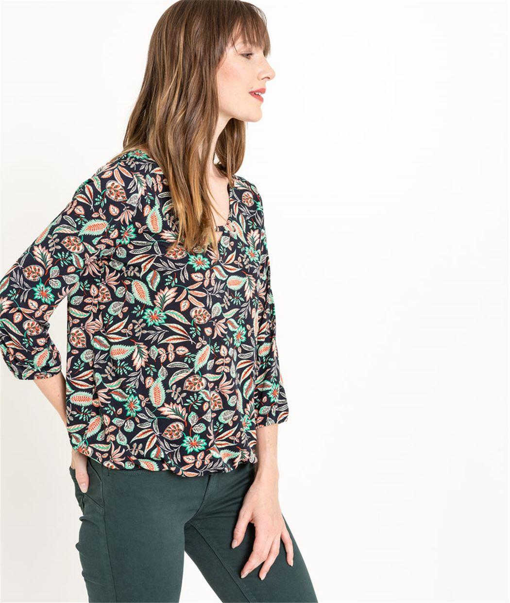 T-shirt femme imprimé tropical MARINE