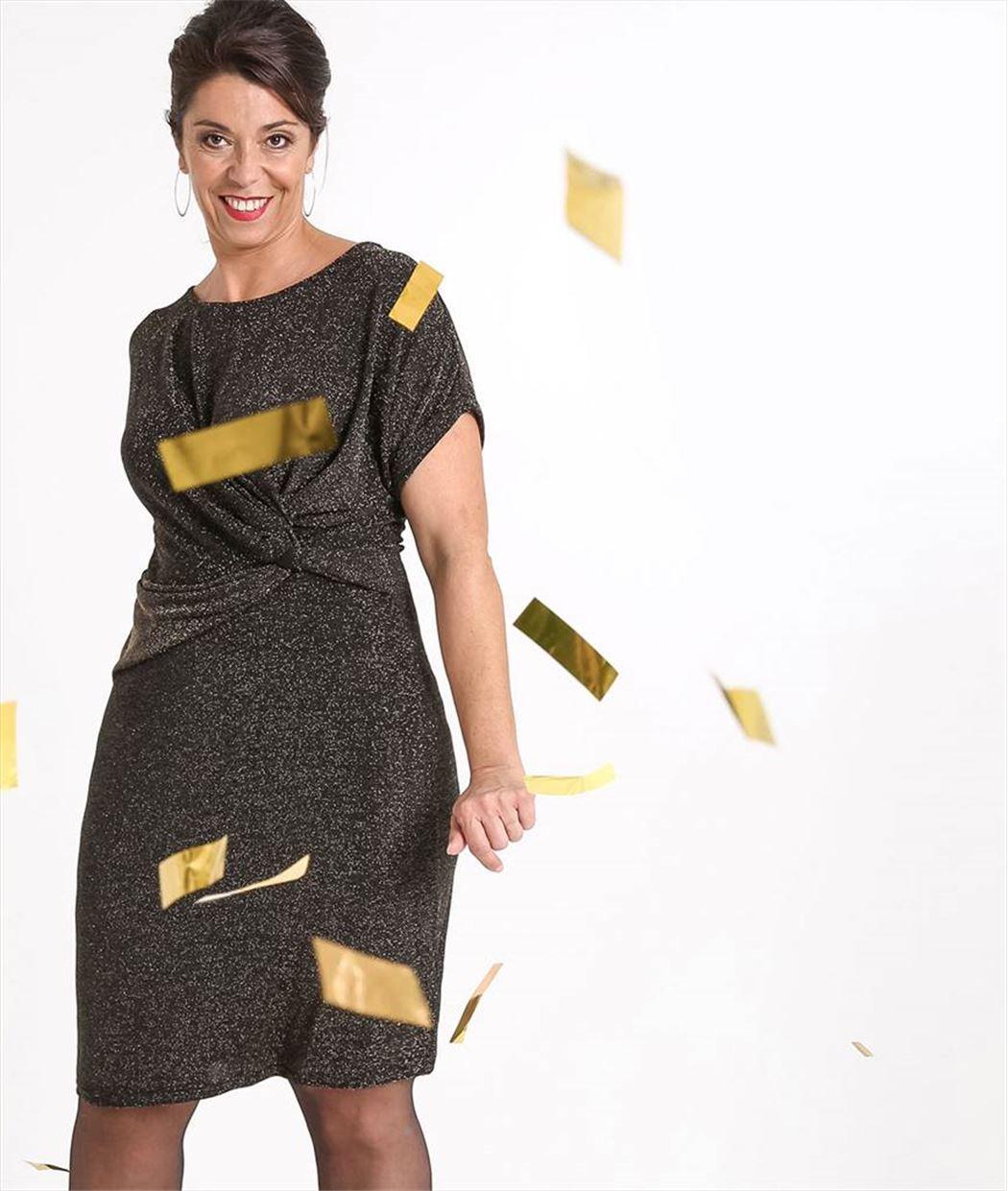 Robe femme en maille brillante dorée OR