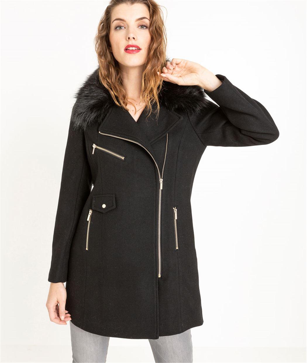 Manteau femme long avec fourrure NOIR