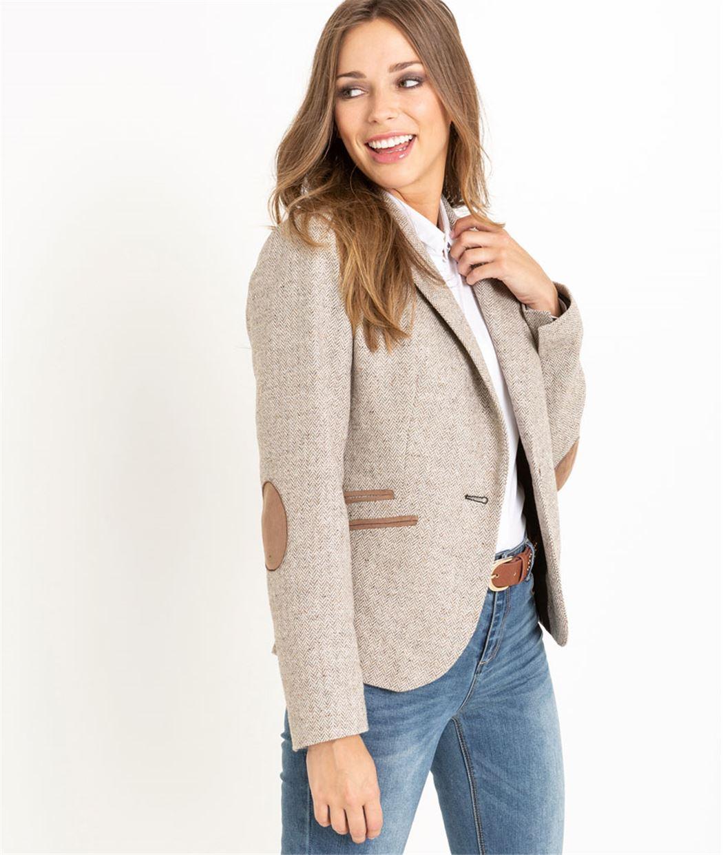 Veste tailleur femme en lainage beige BEIGE