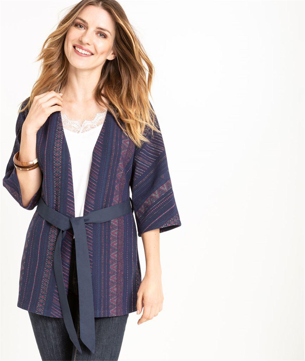 Veste femme esprit kimono en jacquard MARINE