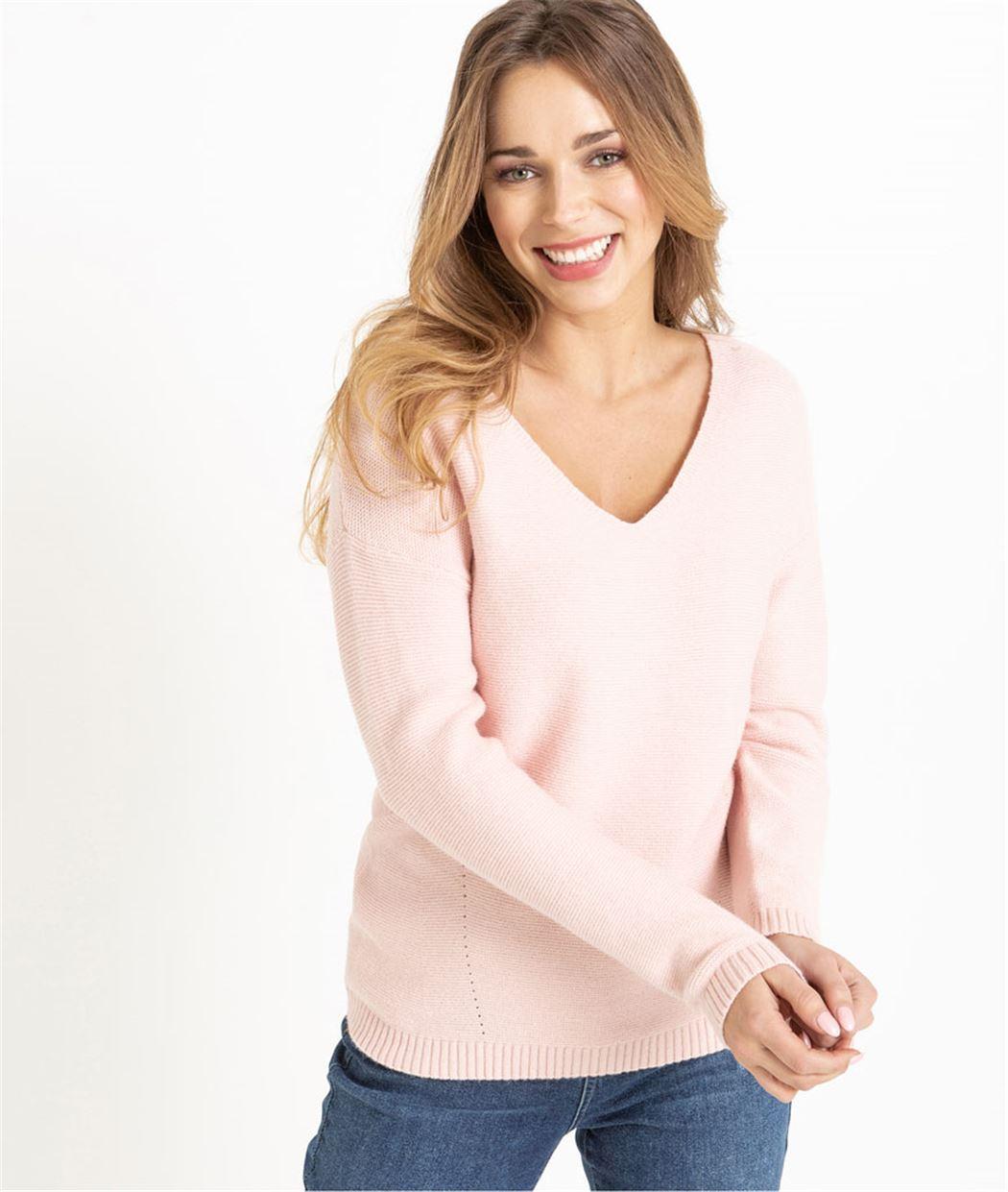 Pull femme rose pâle décolleté V ROSE