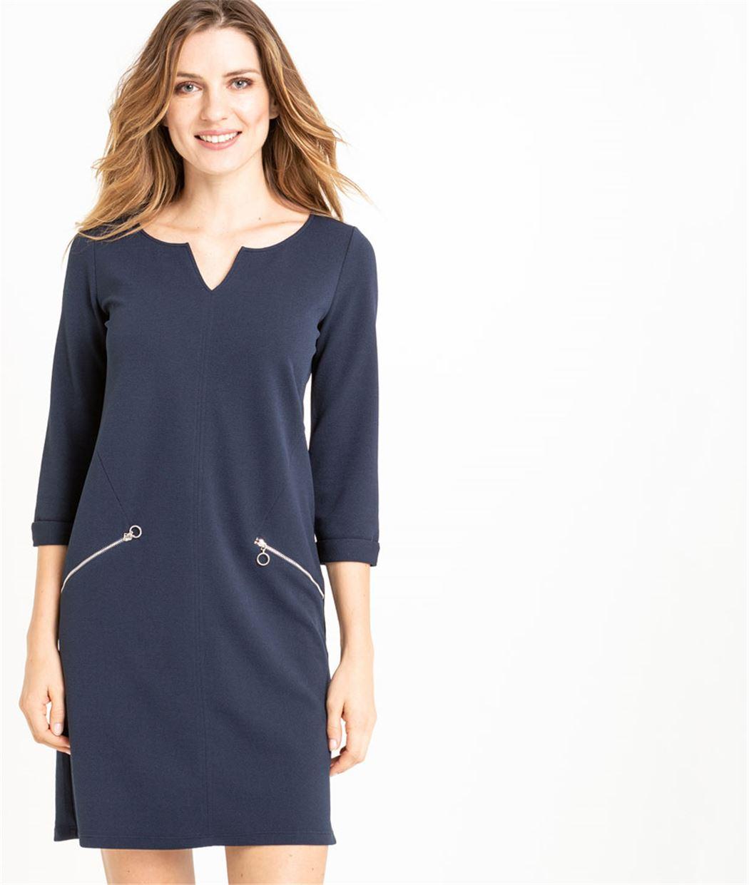 Robe femme en maille bleue marine MARINE