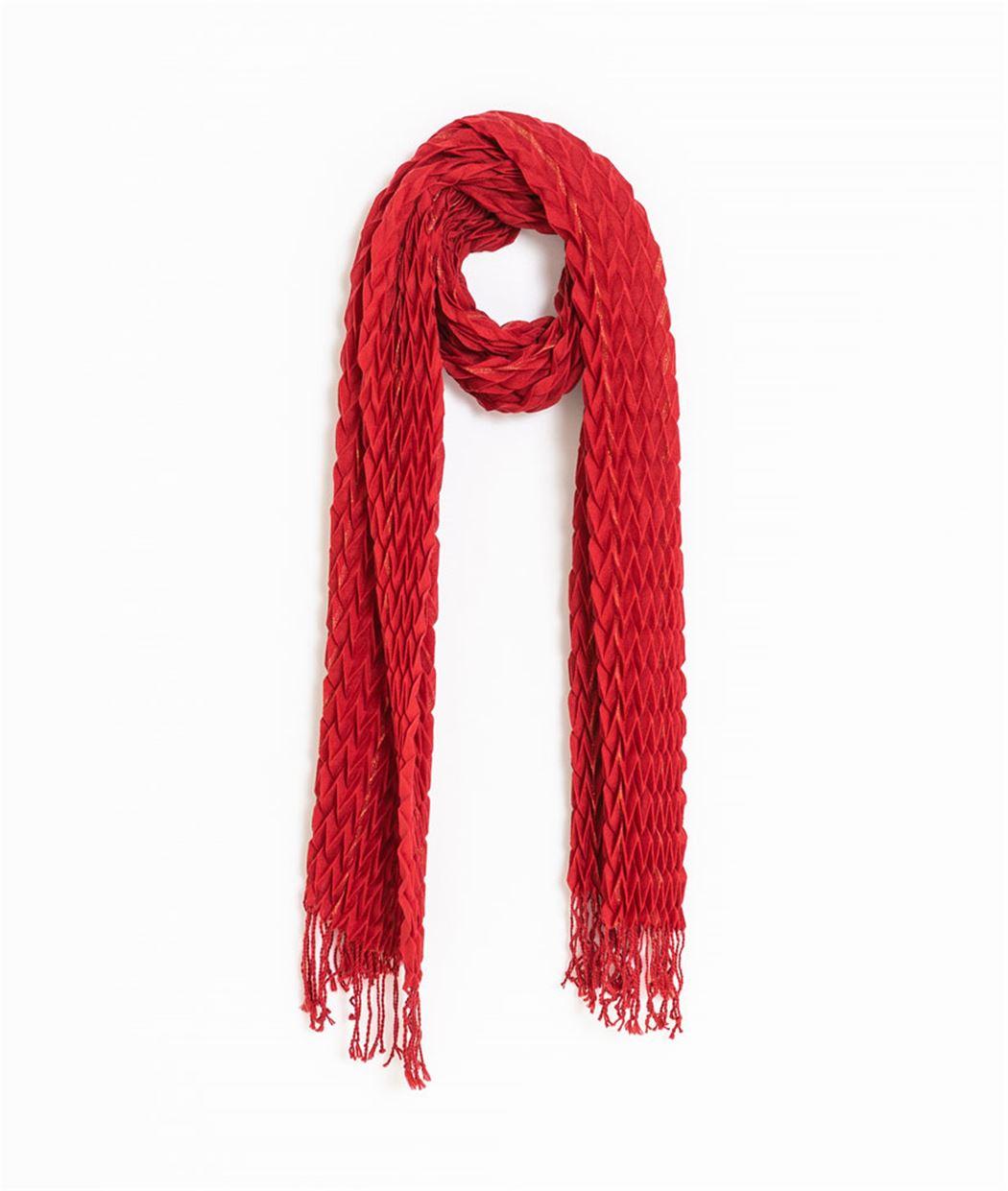 Foulard femme gaufré rouge ROUGE