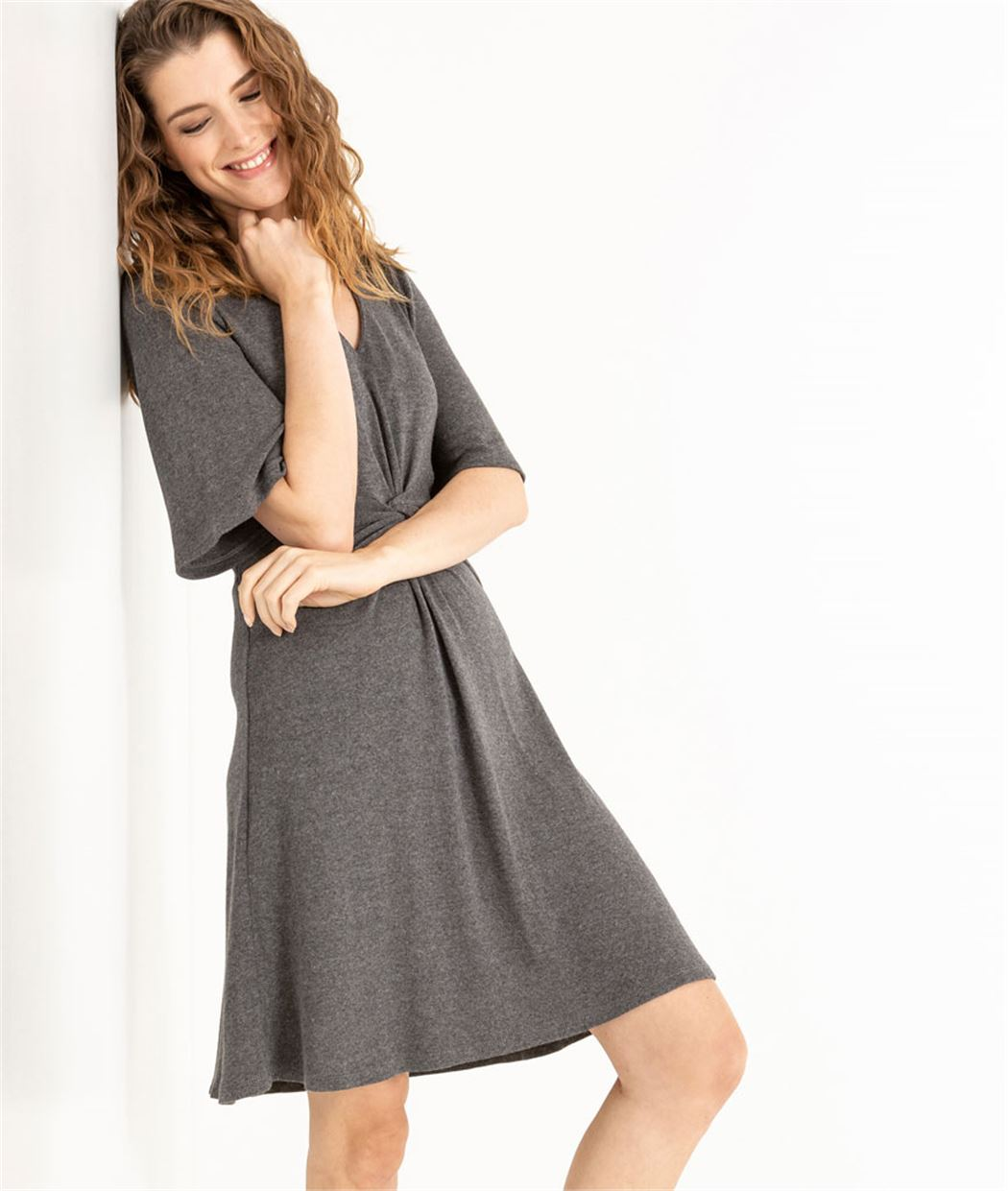 Robe femme gris avec twist à l'avant GRIS