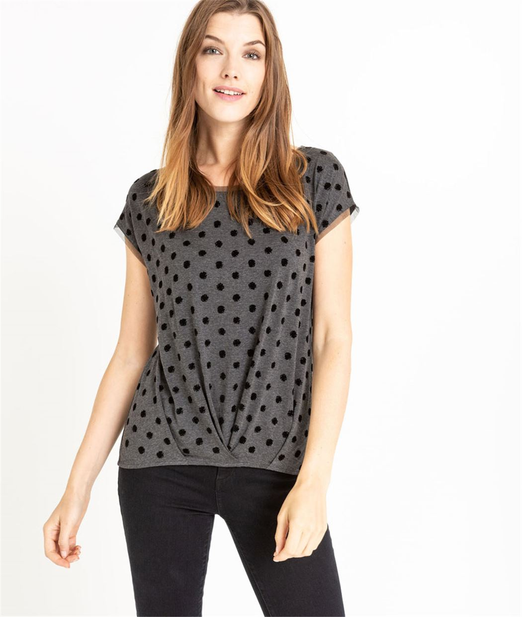 T-shirt femme à pois GRIS