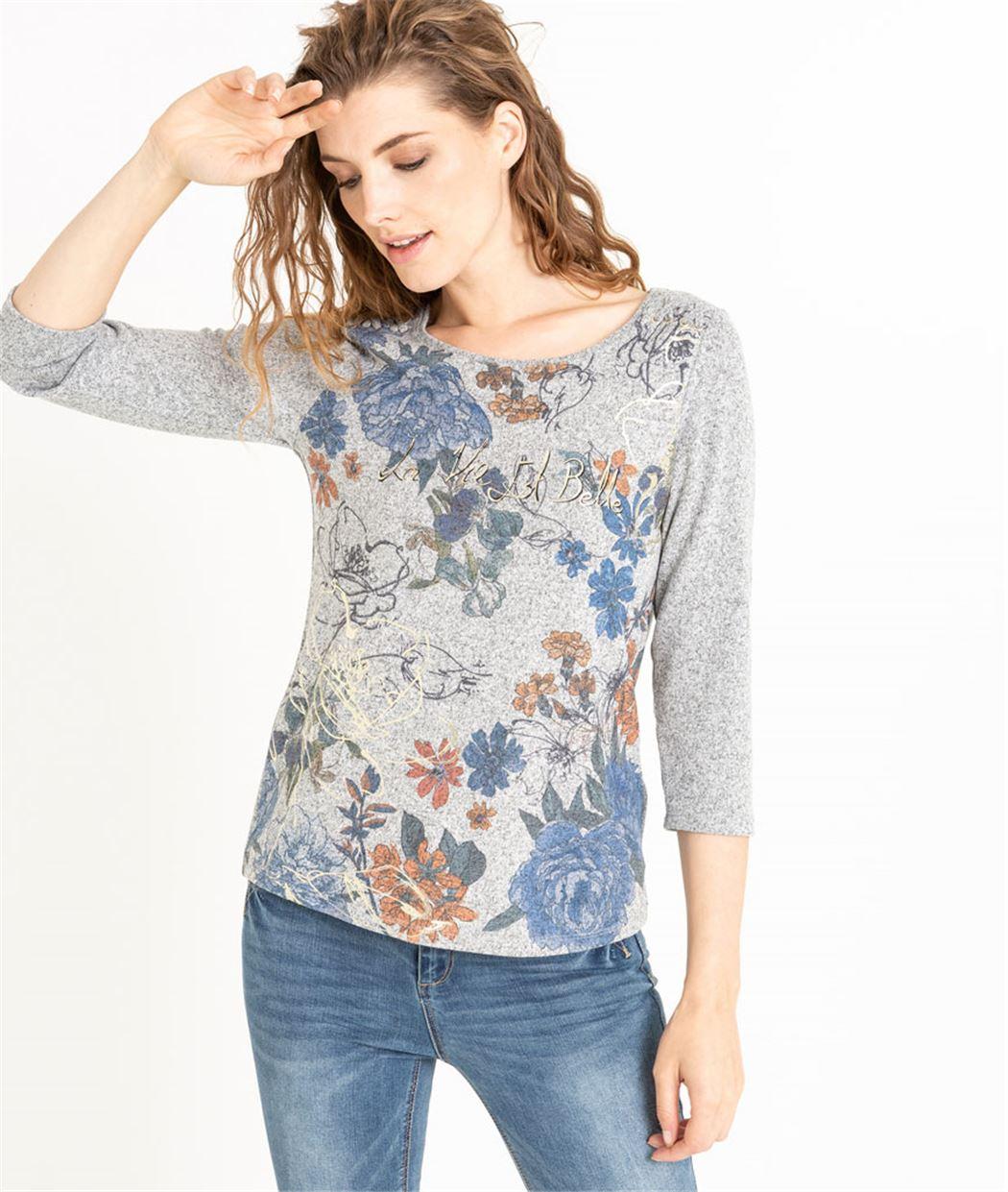 T-shirt femme gris imprimé fleuri GRIS