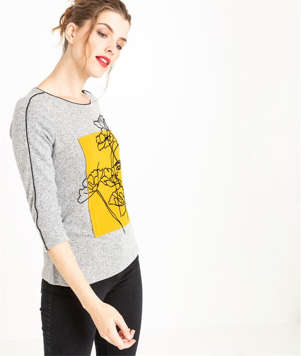 T-shirt femme gris avec dessin GRIS
