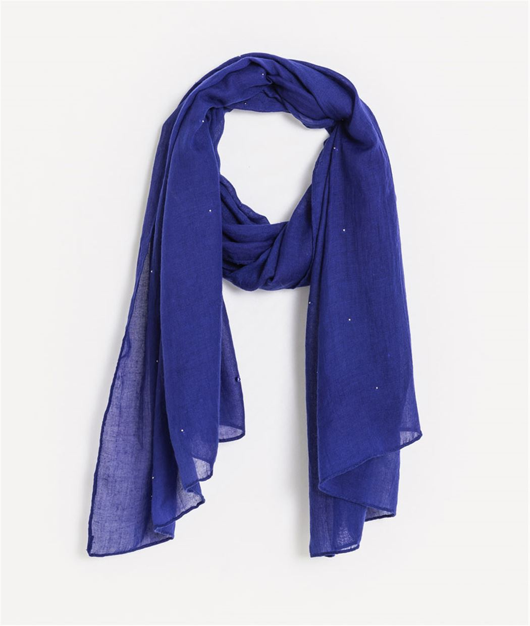Foulard femme bleu uni avec perles KLEIN