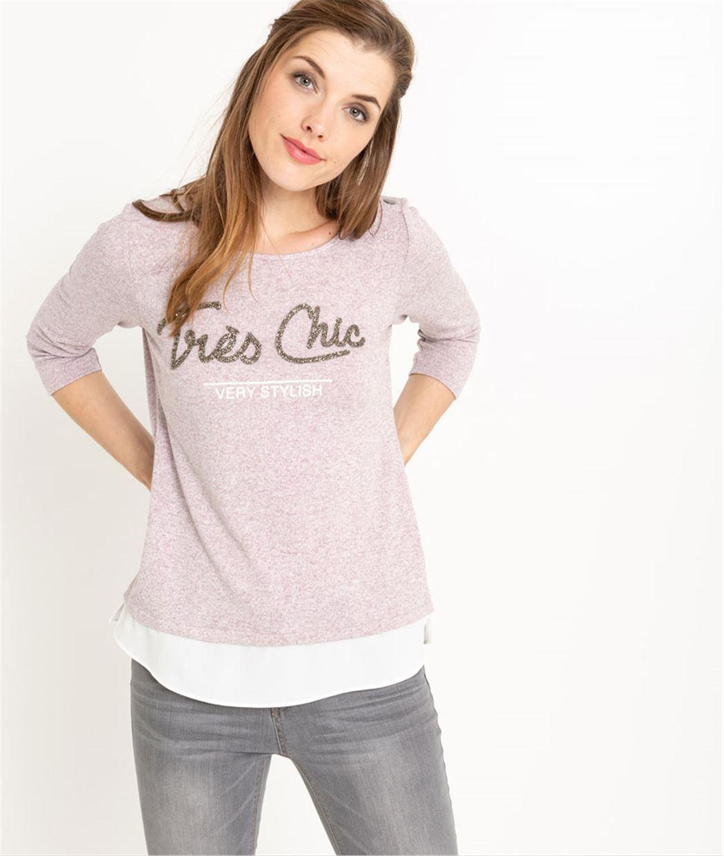 T-shirt femme manches 3/4 à message VIOLET