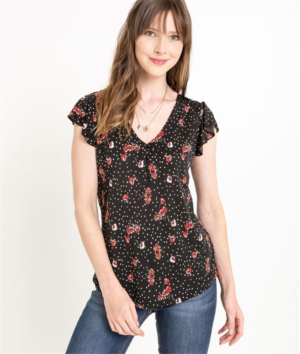 T-shirt femme manches volantées NOIR