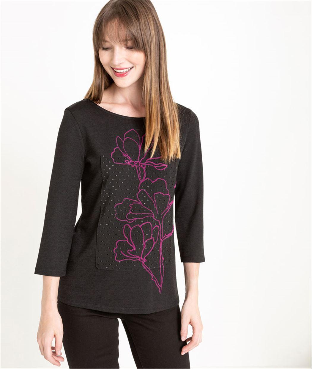 T-shirt femme manches 3/4 noir NOIR