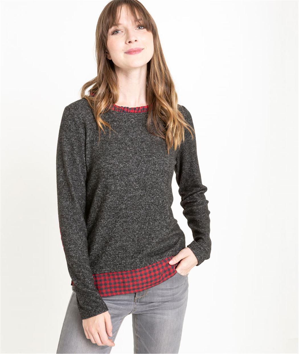 T-shirt femme avec chemise à carreaux GRIS FONCE