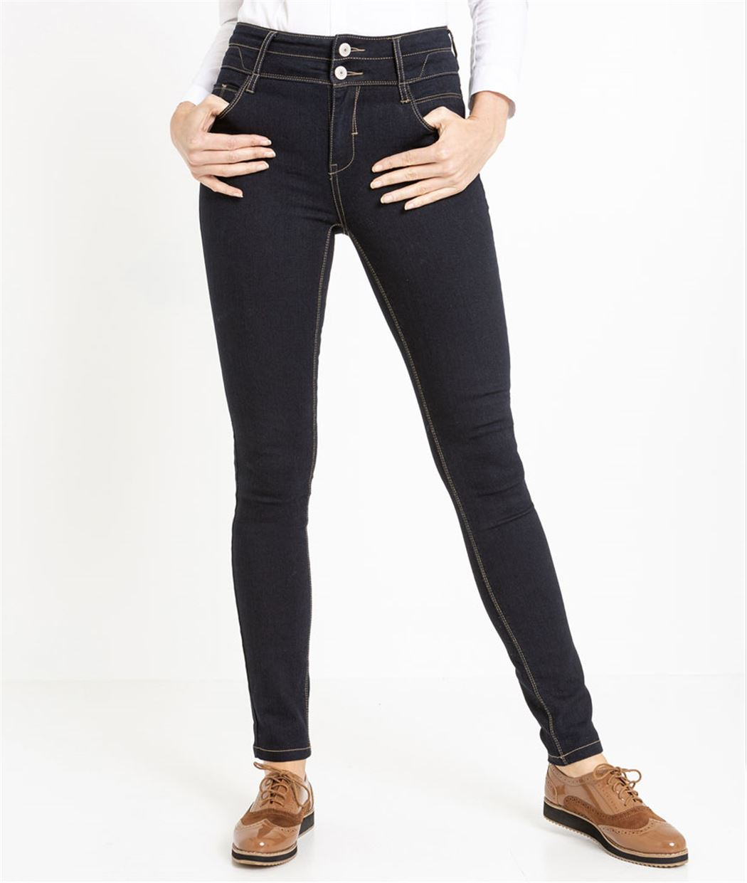 Jean slim taille haute BLUE BLACK
