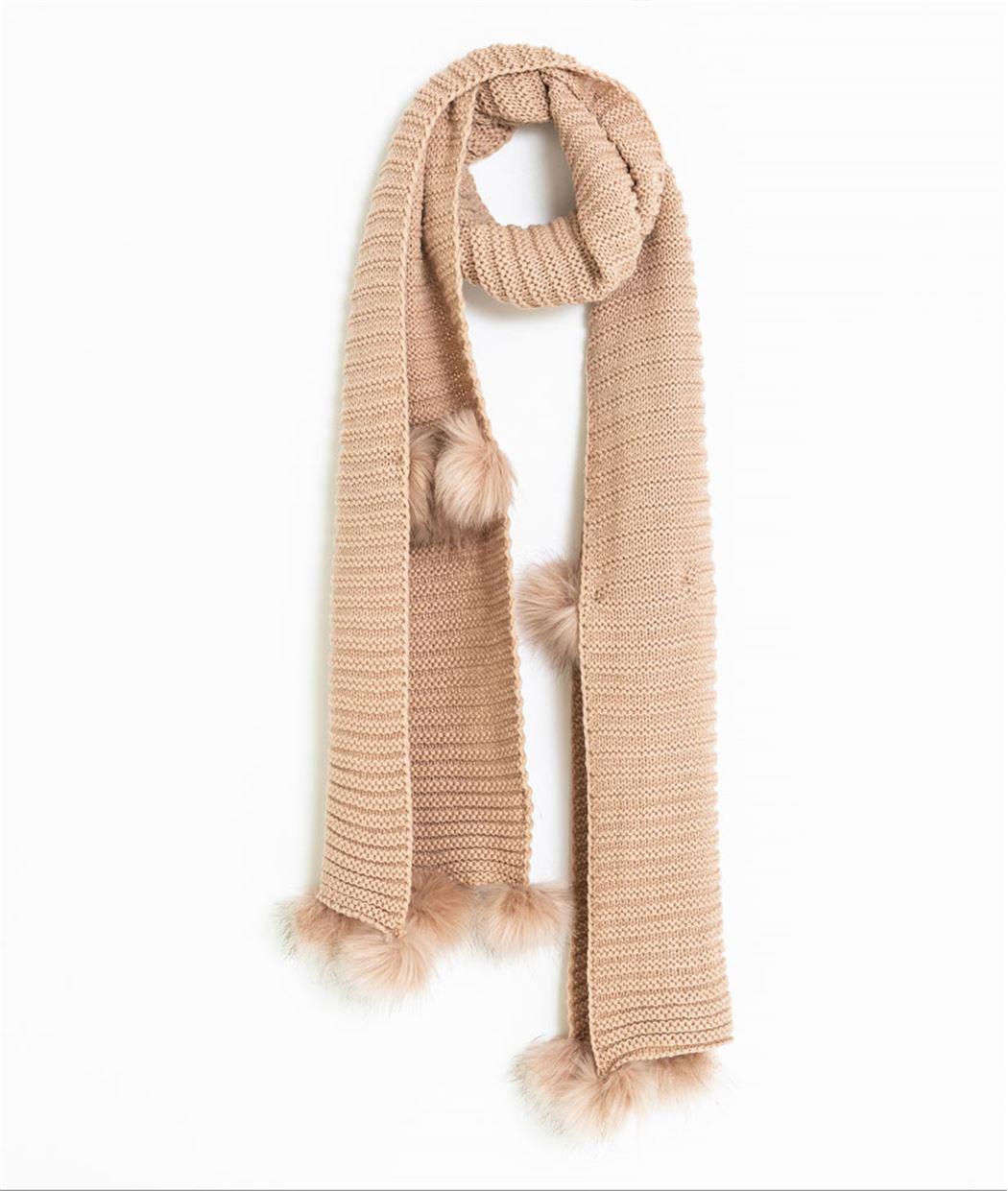 0113c56512d Echarpe femme avec pompons VIEUX ROSE - Grain de Malice