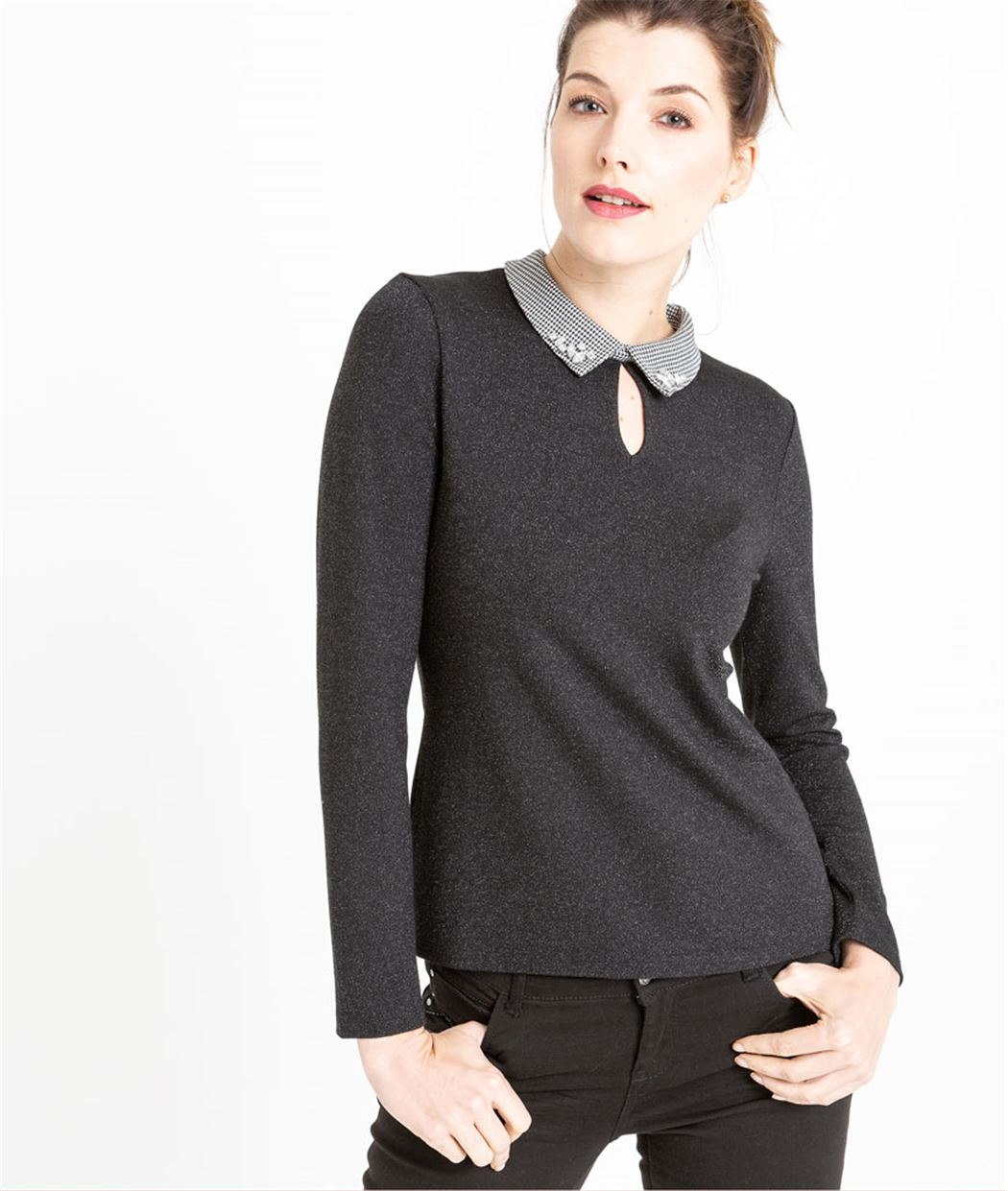 T-shirt femme col chemise NOIR