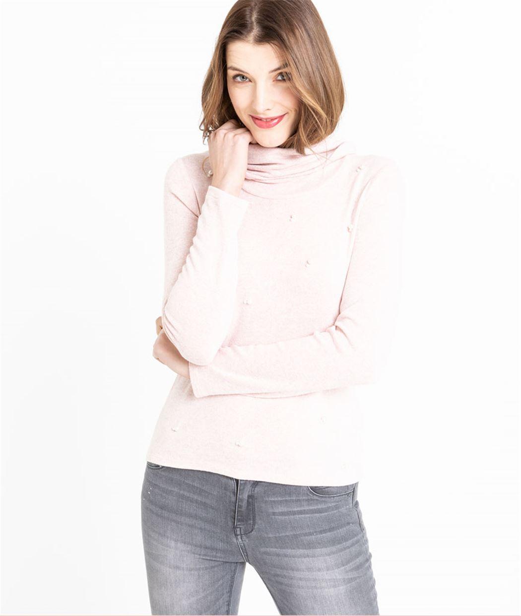 ca8aa4319bb T-shirt femme manches et col roulé ROSE CLAIR - Grain de Malice