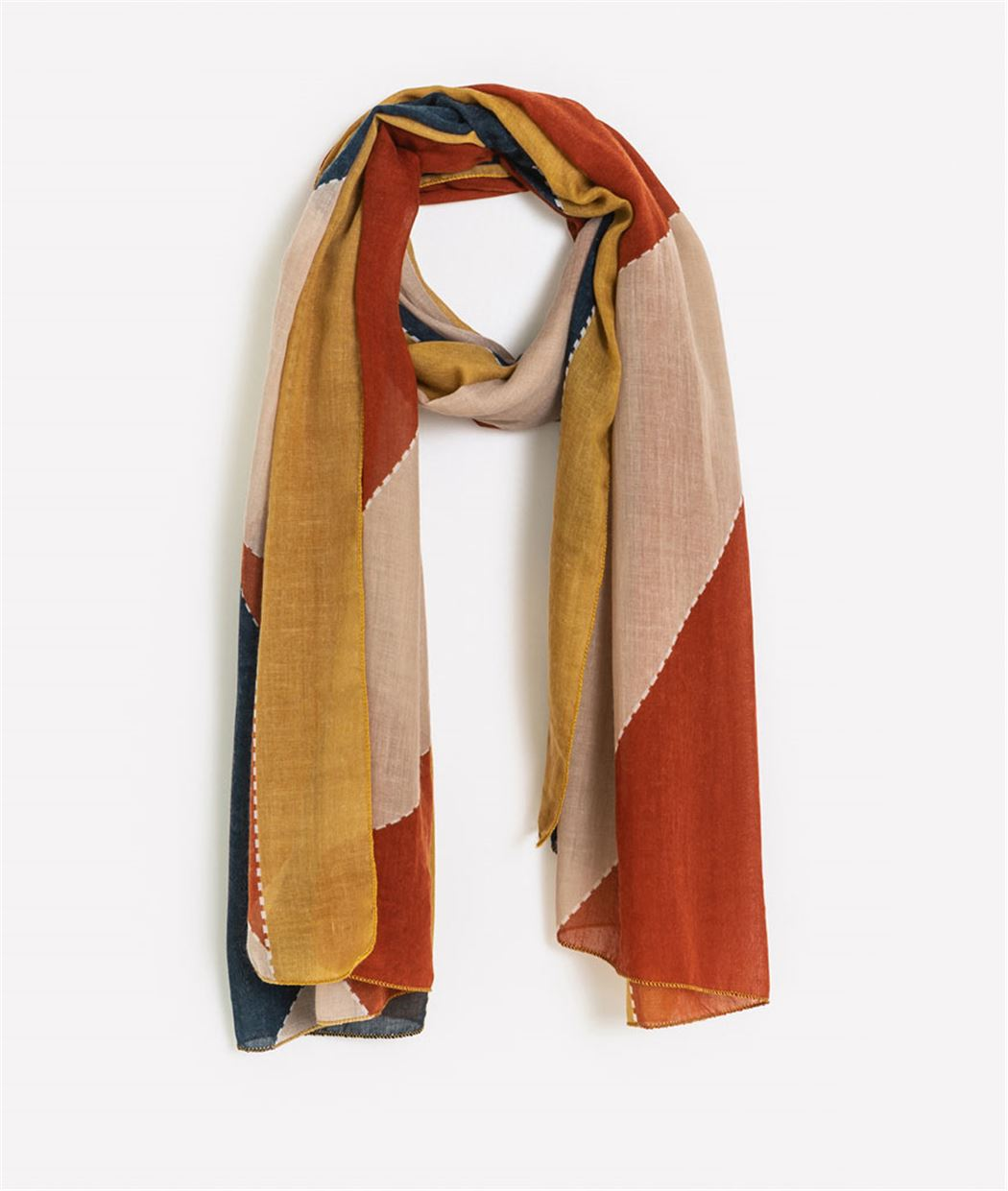 Foulard femme fin et multicolore JAUNE