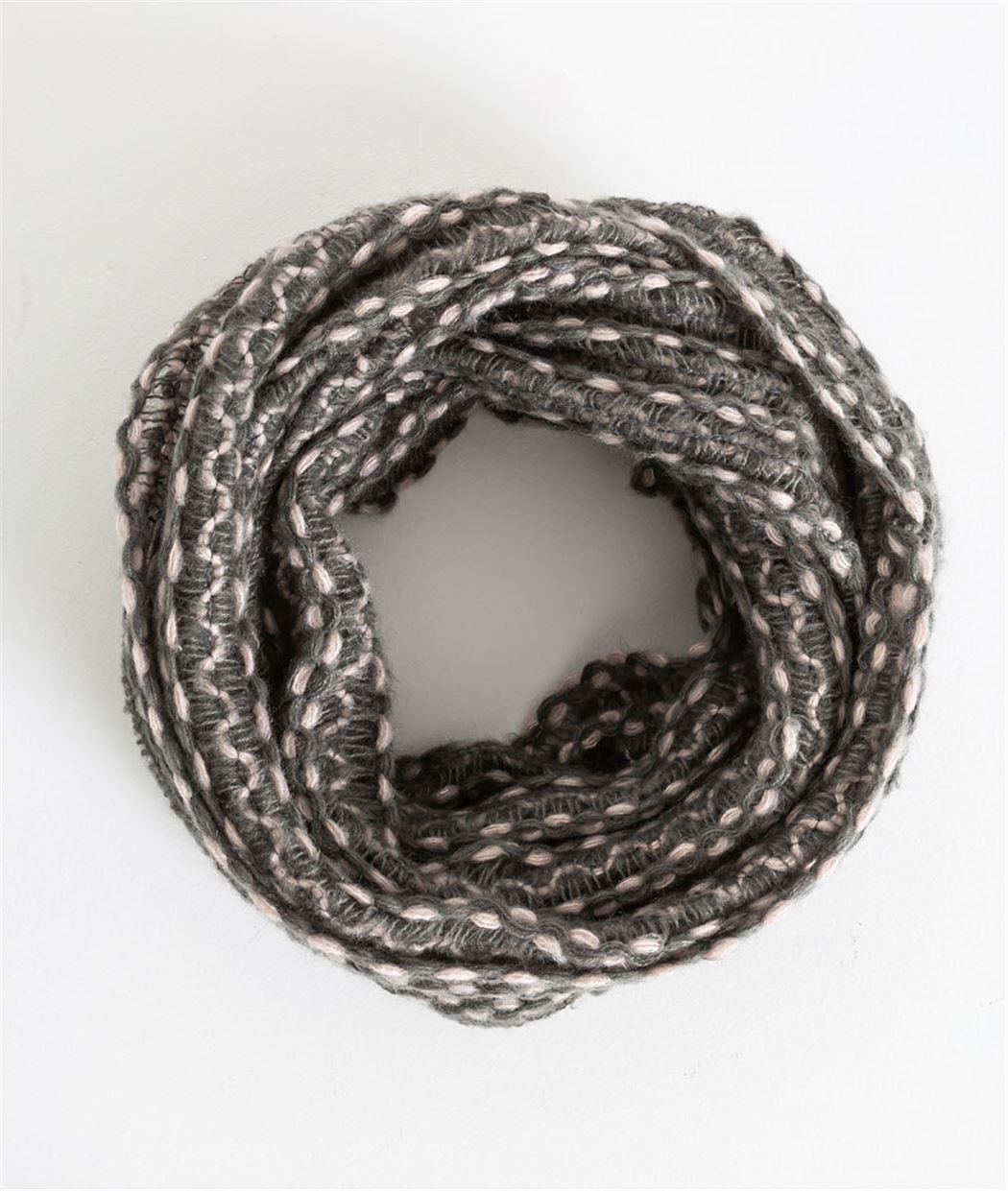 01345a333c0 Snood femme en tricot gris et rose GRIS - Grain de Malice