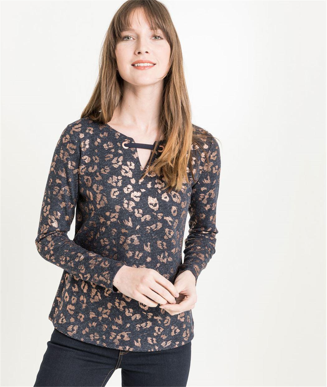 T-shirt femme manches longues léopard MARINE