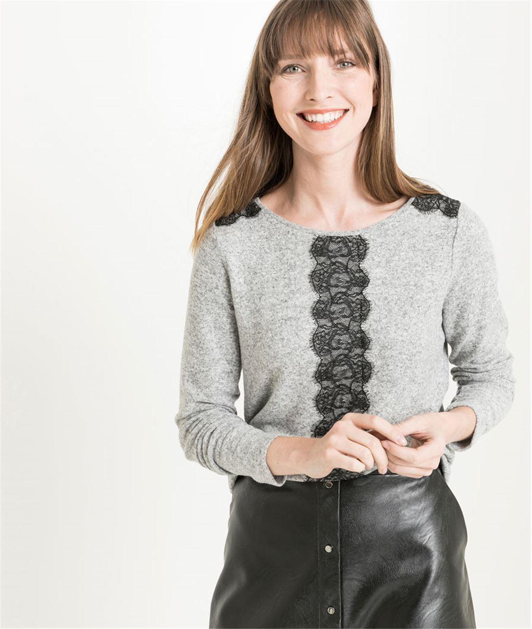 T-shirt femme avec dentelle GRIS