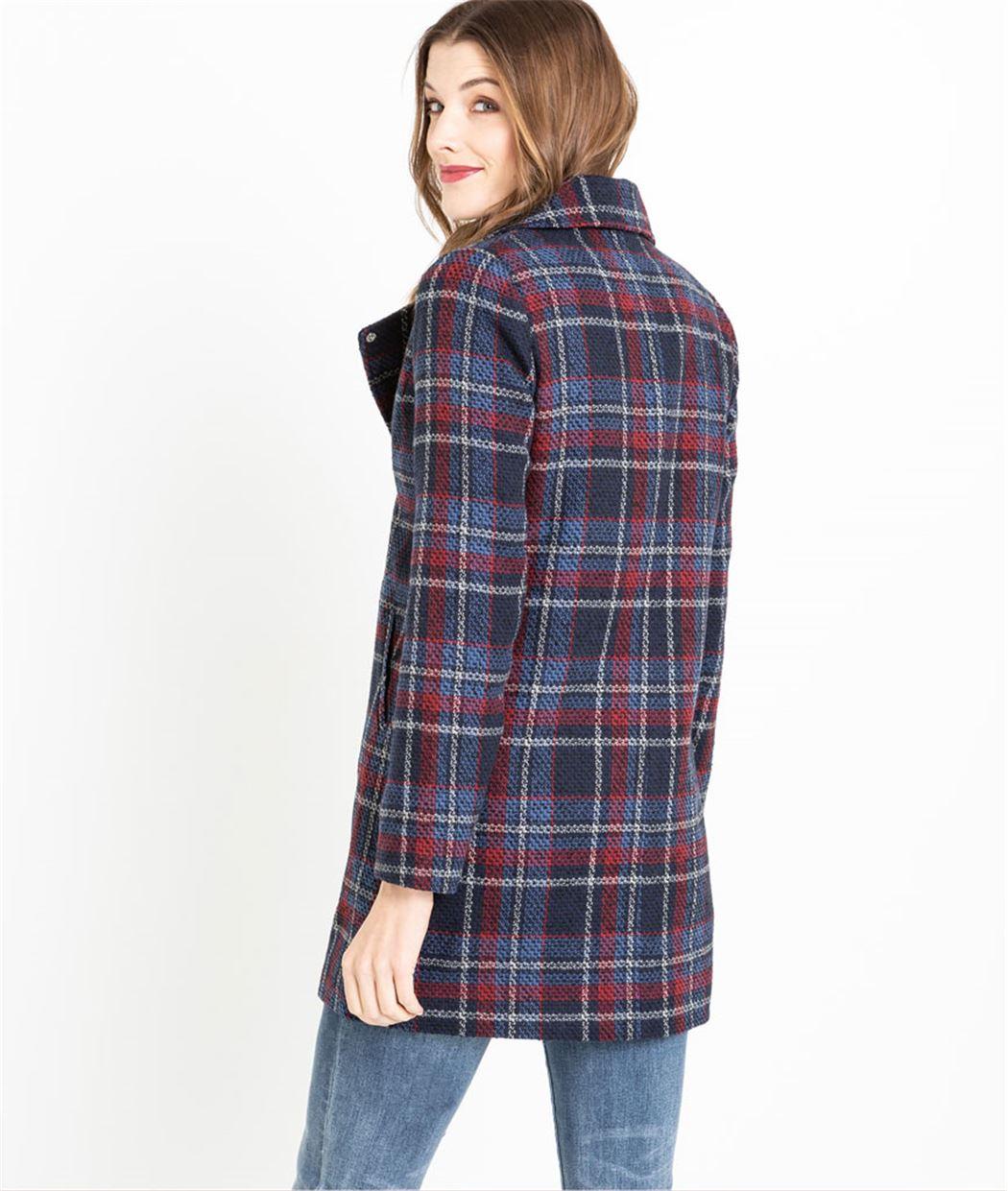 Manteau femme en lainage à carreaux BLEU - Grain de Malice b5dbf20a5b36