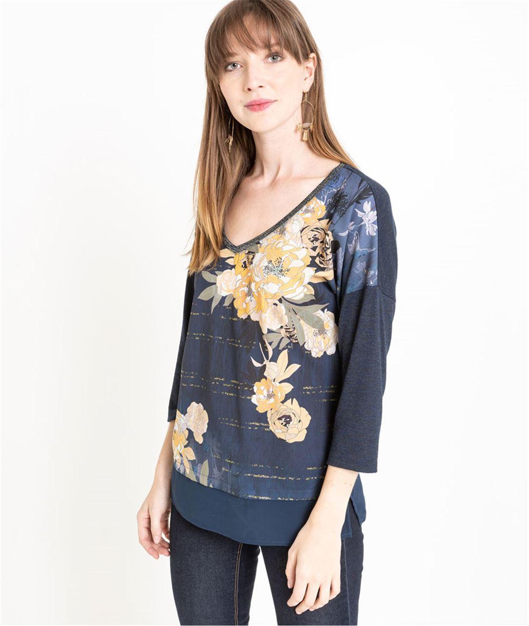 T-shirt femme manches 3/4 imprimé fleuri MARINE