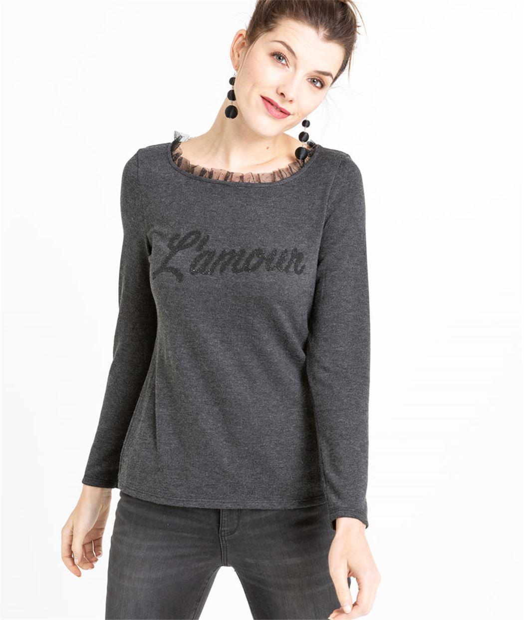 T-shirt femme à message manches longues GRIS