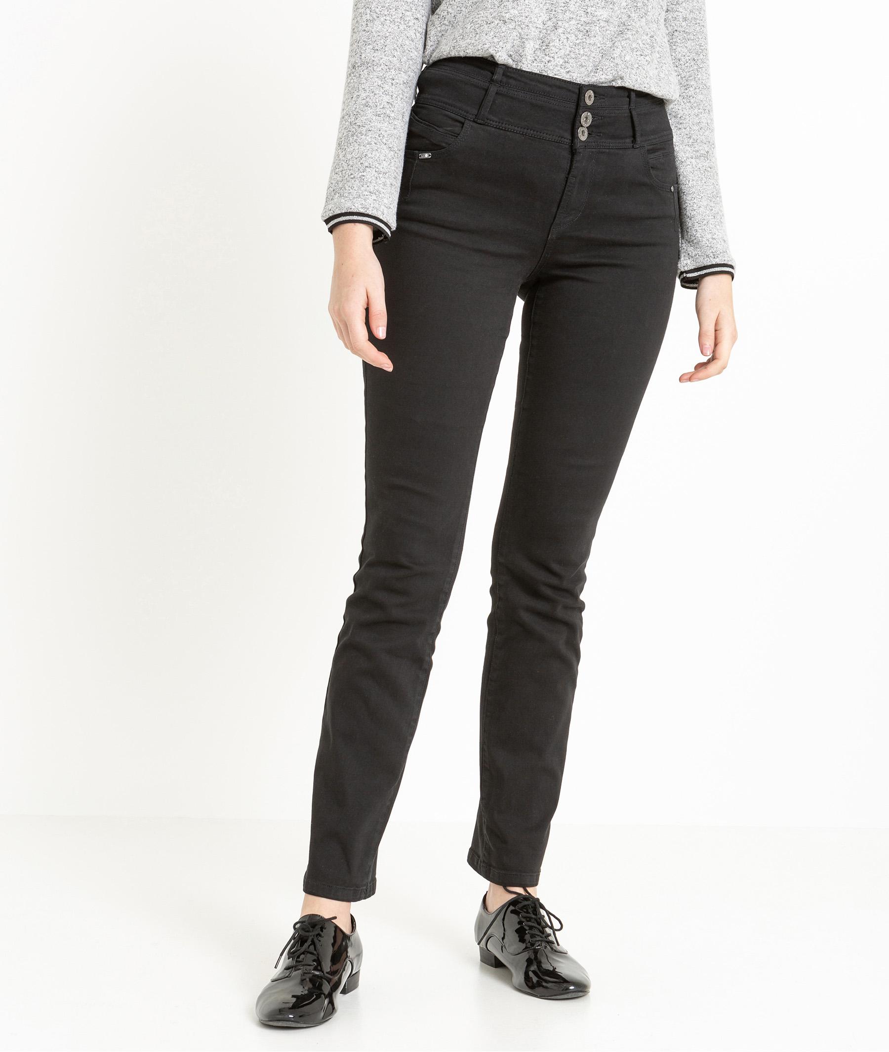 jean femme droit taille haute black grain de malice. Black Bedroom Furniture Sets. Home Design Ideas