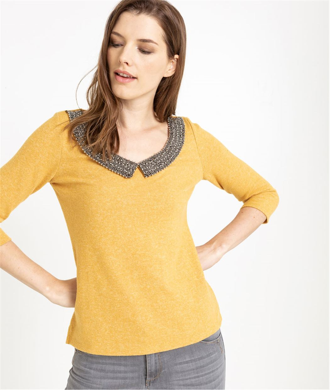 T-shirt femme manches 3/4 et col perlé SAFRAN