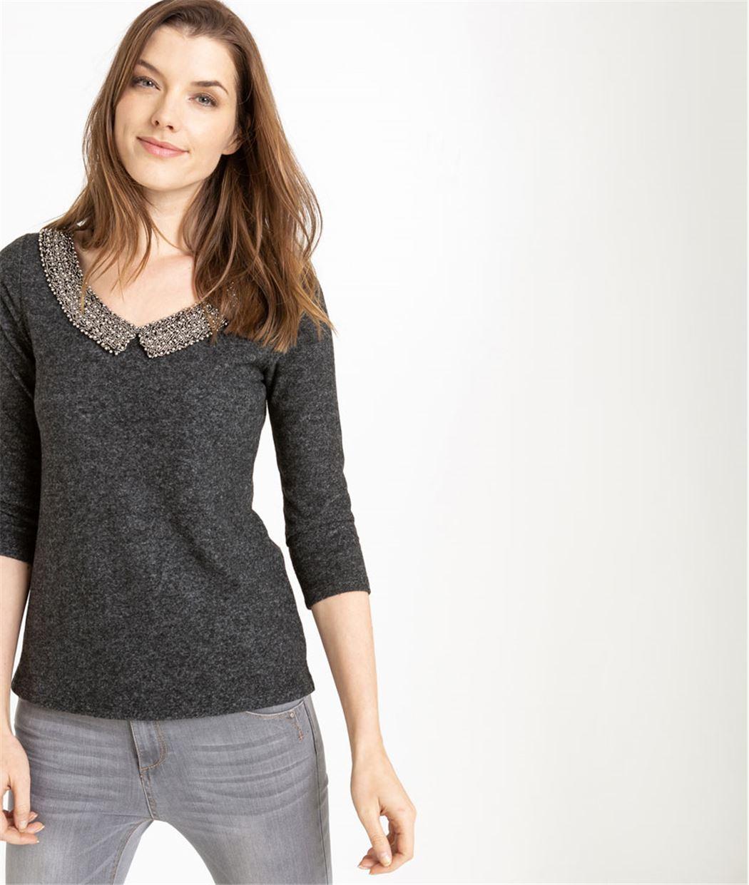 T-shirt femme manches 3/4 et col perlé GRIS FONCE