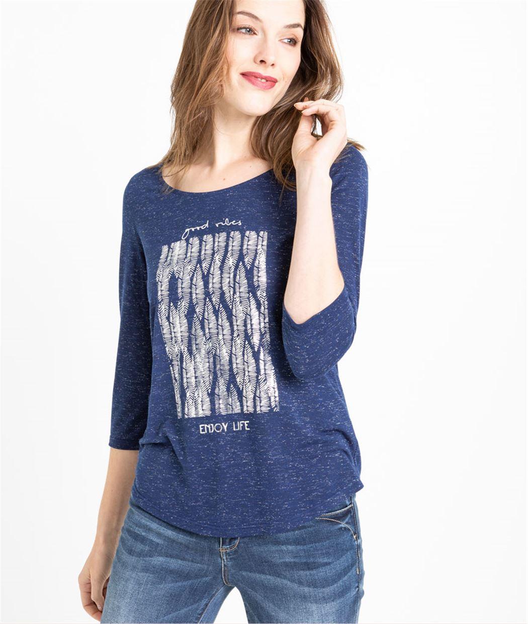 T-shirt femme manches 3/4 imprimé MARINE