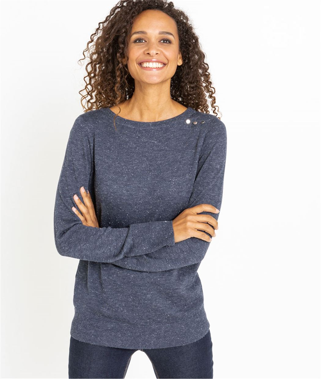 Pull femme col rond et boutons MARINE