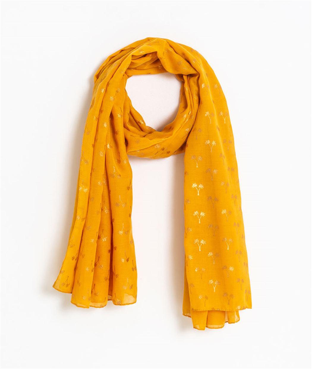 2f8118c8b15c8 Foulard femme jaune motif palmiers JAUNE - Grain de Malice