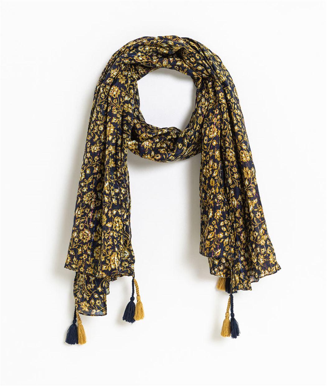 98837057054ab Foulard femme marine motifs fleuris BLEU - Grain de Malice