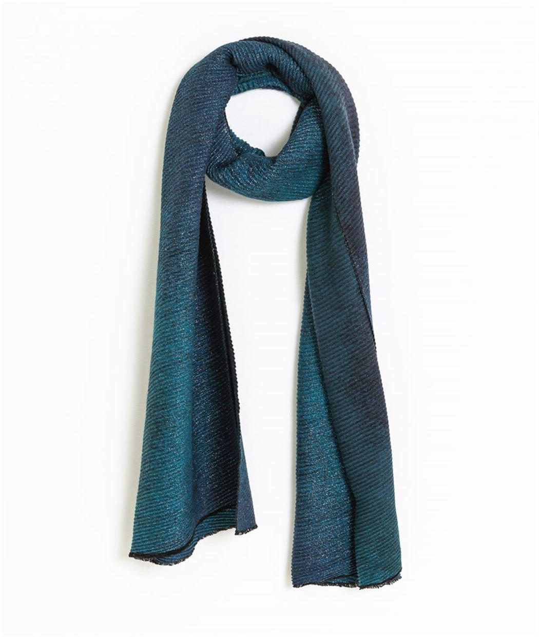 Echarpe femme bleu vert plissée BLEU