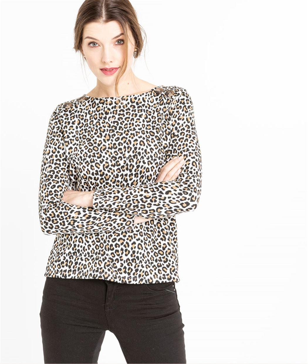Sweat femme léopard avec boutons ECRU