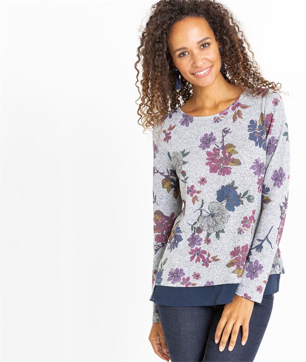 T-shirt femme fleuri ouvert dans le dos GRIS