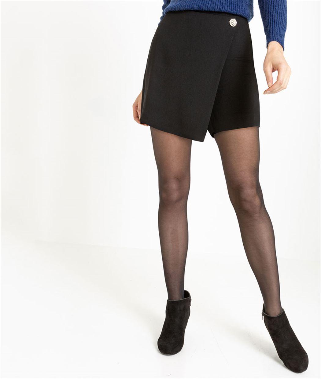 Jupe short femme noire avec détail bijou NOIR - Grain de Malice 50053d7d3723
